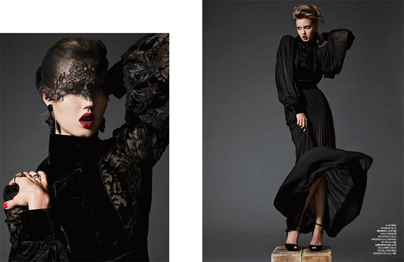 Lindsey Wixson is Glam in Gucci for Harper's Bazaar Korea November 2012 by Michael Schwartz