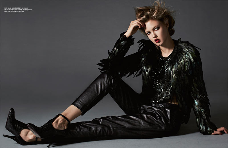 lindsey wixson3 Lindsey Wixson is Glam in Gucci for Harpers Bazaar Korea November 2012 by Michael Schwartz
