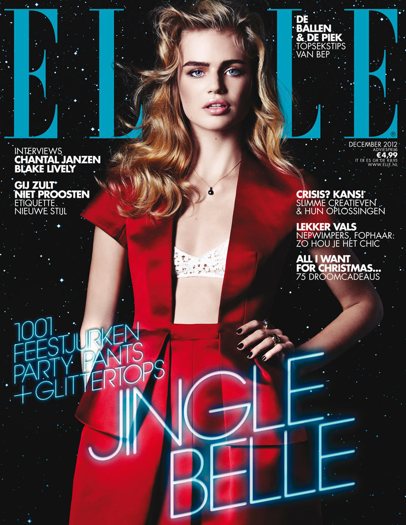 miloucover Milou Sluis Wears Holiday Red for Elle Netherlands December 2012 Cover