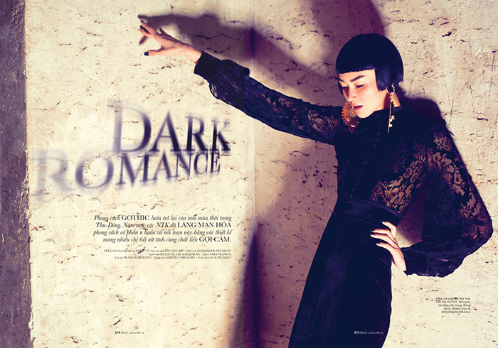 romance1 Hye Jung Lee Models Dark Winter Fashions for Elle Vietnam December 2012