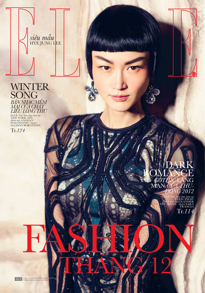 romance10 Hye Jung Lee Models Dark Winter Fashions for Elle Vietnam December 2012