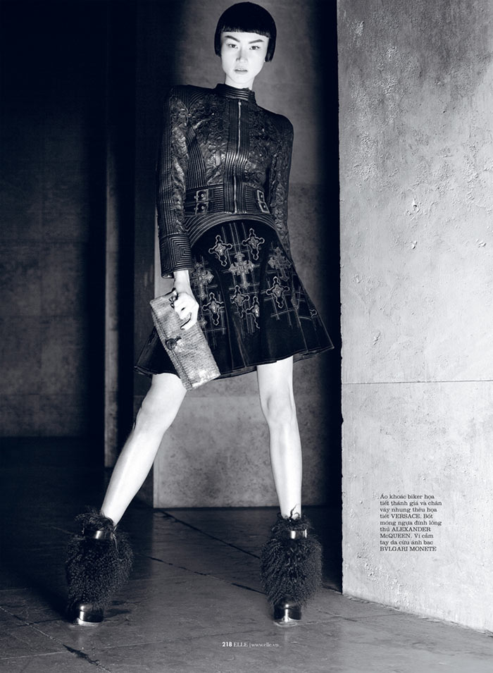 romance4 Hye Jung Lee Models Dark Winter Fashions for Elle Vietnam December 2012
