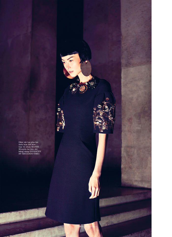 romance6 Hye Jung Lee Models Dark Winter Fashions for Elle Vietnam December 2012