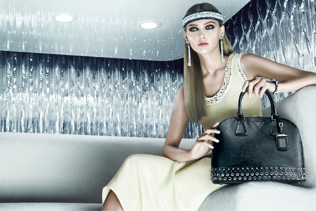 sasha prada2 Sasha Pivovarova is Sporty Glam for Pradas Resort 2013 Campaign by Steven Meisel