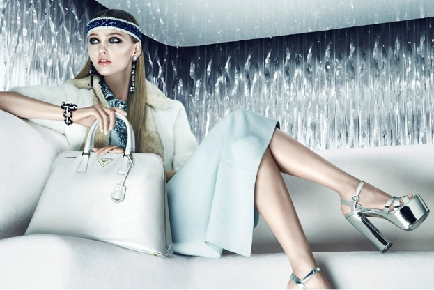 sasha prada3 Sasha Pivovarova is Sporty Glam for Pradas Resort 2013 Campaign by Steven Meisel