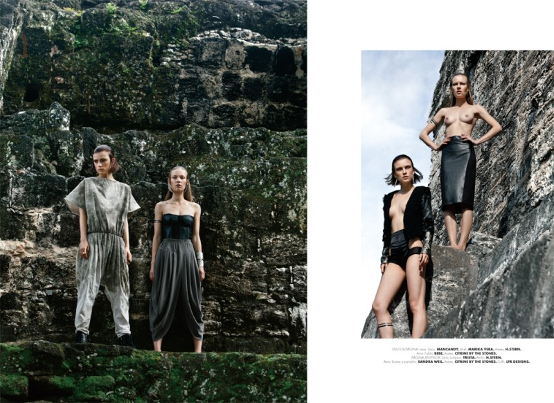 tikal2 Jana Knauerová and Ania K are Apocalyptic in Elle Mexico December by Santiago Ruisenor