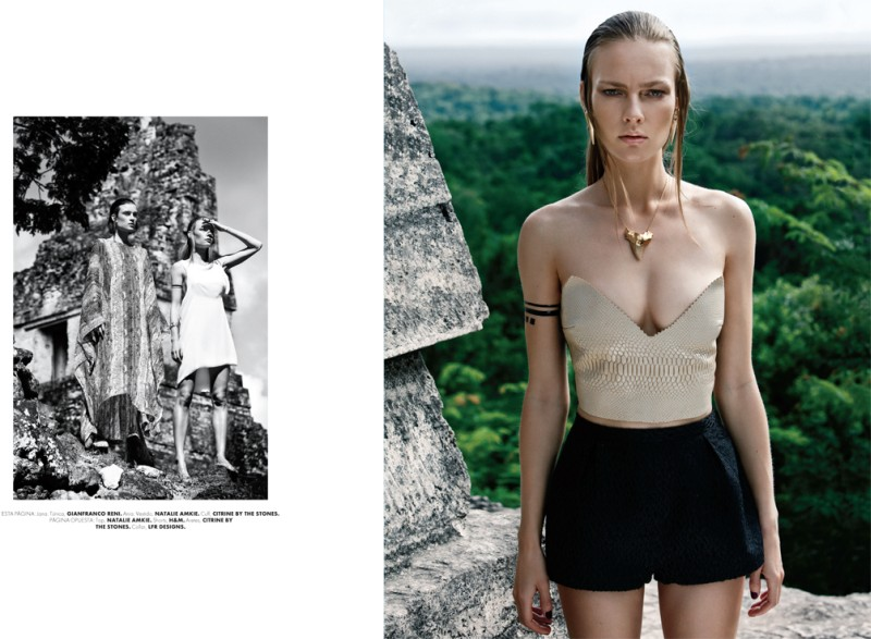 tikal3 Jana Knauerová and Ania K are Apocalyptic in Elle Mexico December by Santiago Ruisenor