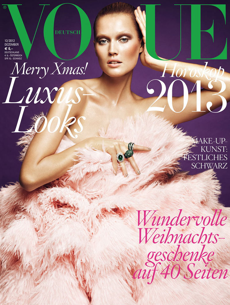 tonicover Toni Garrn Graces Vogue Germanys December 2012 Cover in Alexander McQueen