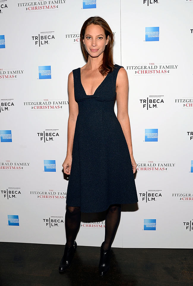 turlington burnschristy calvin klein collection fitzgerald family christmas screening 112712 ph getty images global 6 mos Christy Turlington in Calvin Klein at The Fitzgerald Family Christmas Screening
