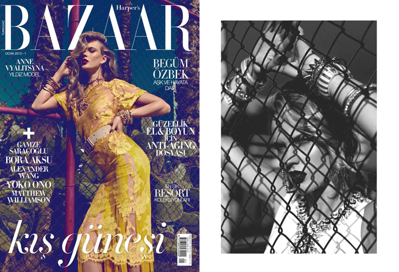 AnneV Anne Vyalitsyna Stuns in Harpers Bazaar Turkeys January 2013 Cover Shoot by Koray Birand