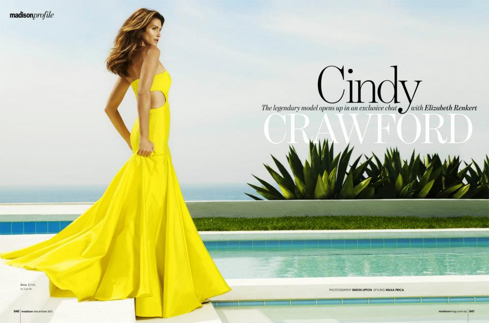 CindyMadison1 Cindy Crawford is Super Glam for Madison Magazines December Cover Shoot by Simon Upton