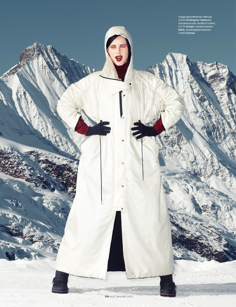 ElleSki3 Rianne van Rompaey Hits the Slopes for Elle Netherlands January Issue