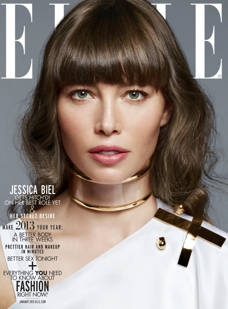 JessicaBiel10 Jessica Biel Dons the Spring Collections for Elle US January 2013 by Thomas Whiteside