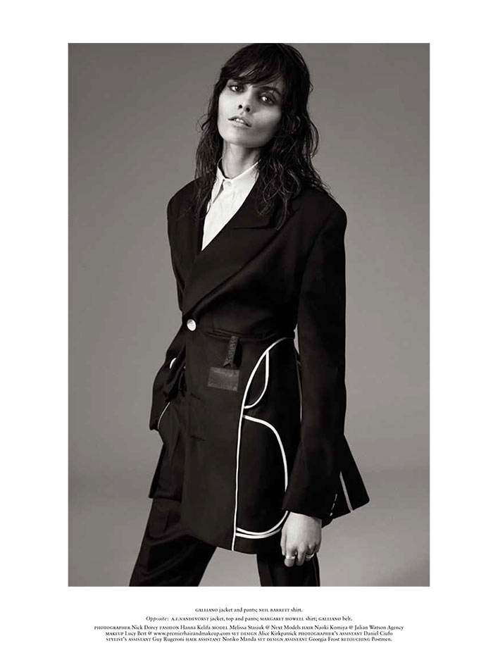 MelissaRussh111 Melissa Stasiuk Dons Menswear Inspired Style for Russh December/January