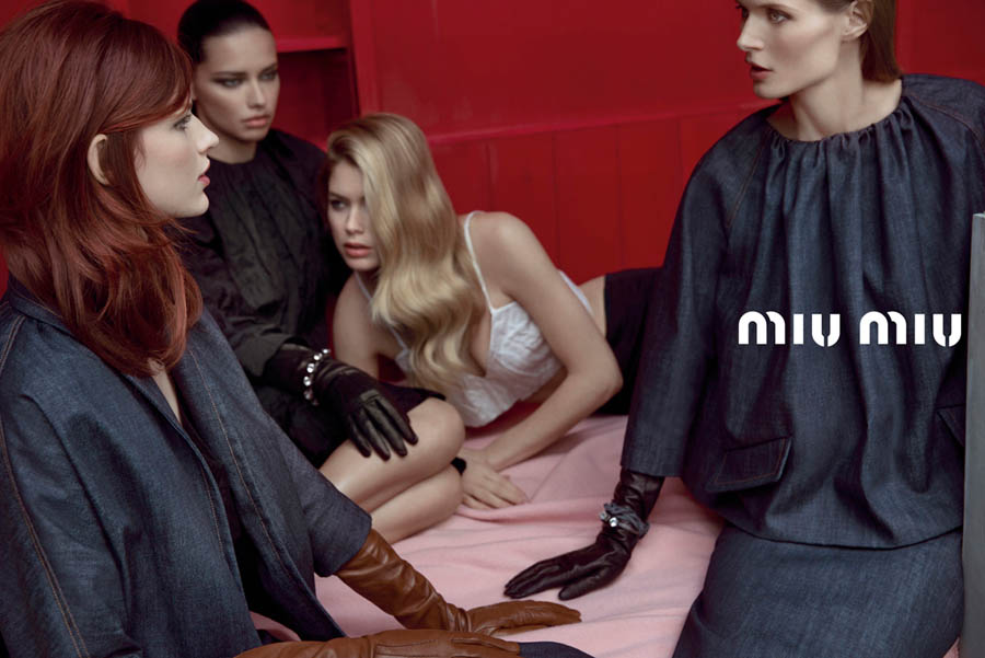 MiuMiuSpring1 Doutzen Kroes, Adriana Lima, Bette Franke, Malgosia Bela and Others Front the Miu Miu Spring 2013 Campaign by Inez & Vinoodh