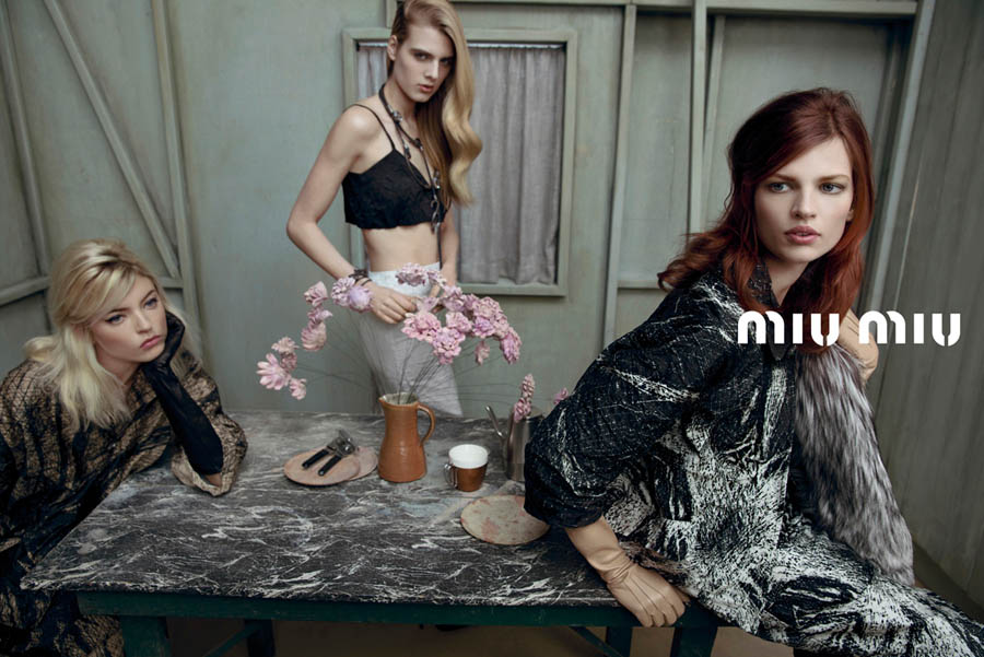 MiuMiuSpring6 Doutzen Kroes, Adriana Lima, Bette Franke, Malgosia Bela and Others Front the Miu Miu Spring 2013 Campaign by Inez & Vinoodh