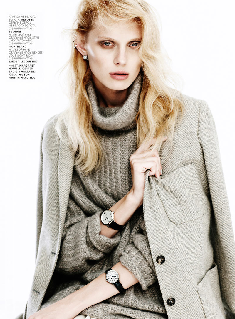OlgaVogue4 Olga Sherer Shimmers in Vogue Russias January Issue by Emma Tempest