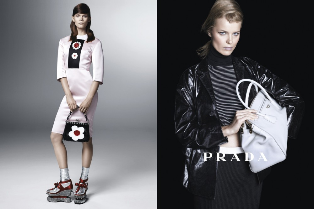 PradaSpring1 1000x667 Sasha Pivovarova, Raquel Zimmermann, Eva Herzigova, Amber Valletta and Others Star in Pradas Spring 2013 Campaign by Steven Meisel