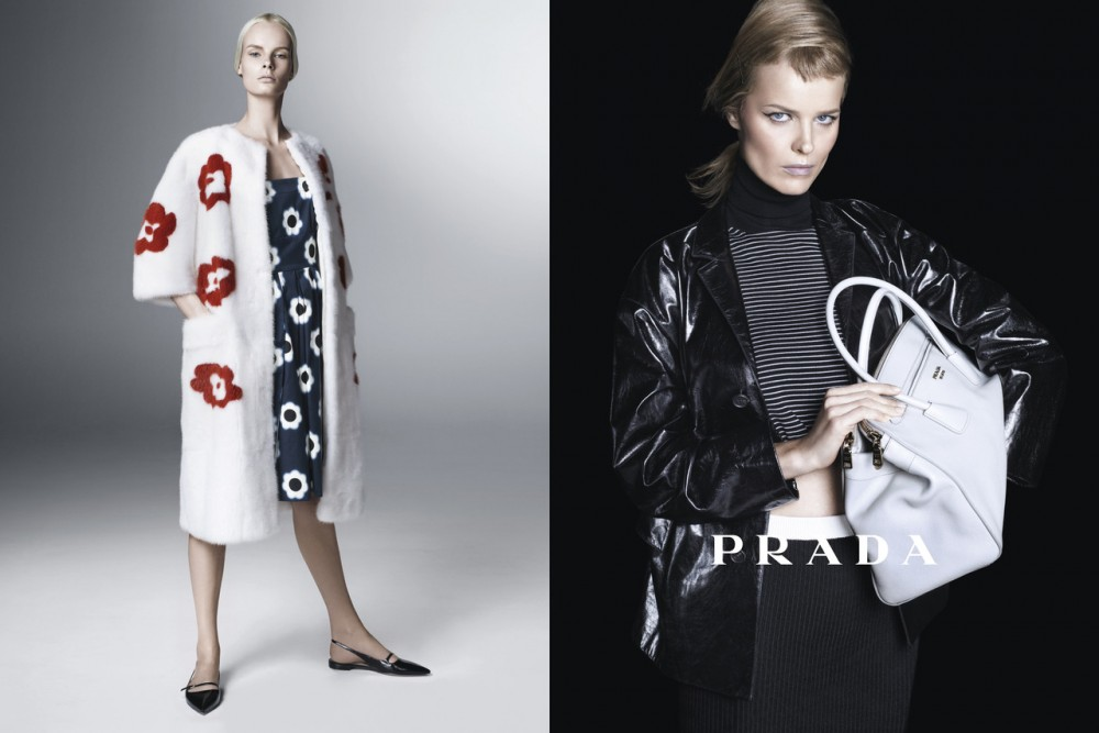 PradaSpring3 1000x667 Sasha Pivovarova, Raquel Zimmermann, Eva Herzigova, Amber Valletta and Others Star in Pradas Spring 2013 Campaign by Steven Meisel