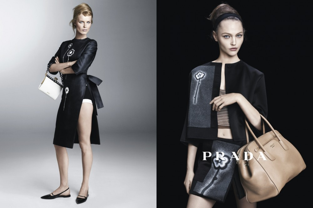 PradaSpring5 1000x667 Sasha Pivovarova, Raquel Zimmermann, Eva Herzigova, Amber Valletta and Others Star in Pradas Spring 2013 Campaign by Steven Meisel