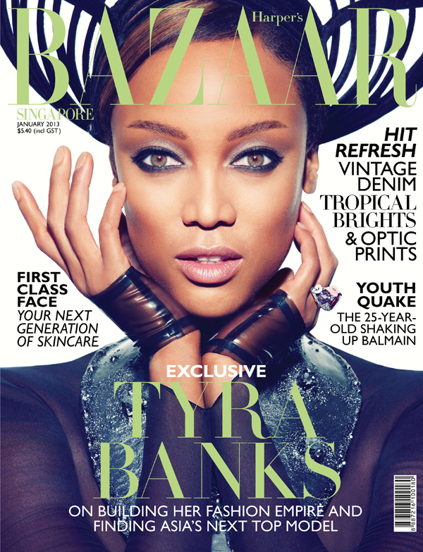 SB0113 Cover Tyra Banks FGR Tyra Banks Gets Fierce for Harpers Bazaar Singapore January 2013 Cover Shoot