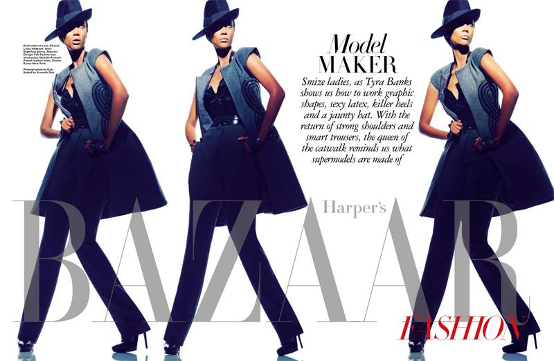SB0113 Fashion Opener FGR Tyra Banks Gets Fierce for Harpers Bazaar Singapore January 2013 Cover Shoot
