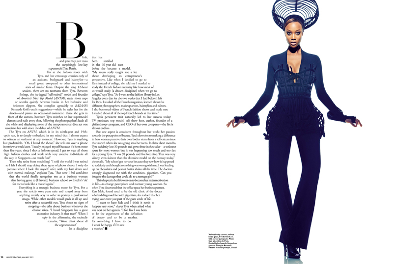 SB0113 Fashion Tyra Banks 3 FGR Tyra Banks Gets Fierce for Harpers Bazaar Singapore January 2013 Cover Shoot