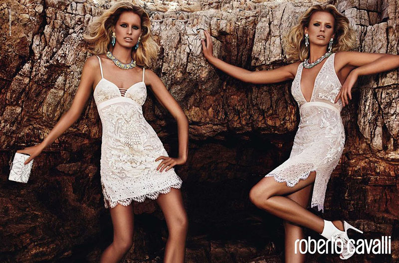 cavalli1 Anne Vyalitsyna and Karolina Kurkova Get Glam for Roberto Cavallis Resort 2013 Campaign