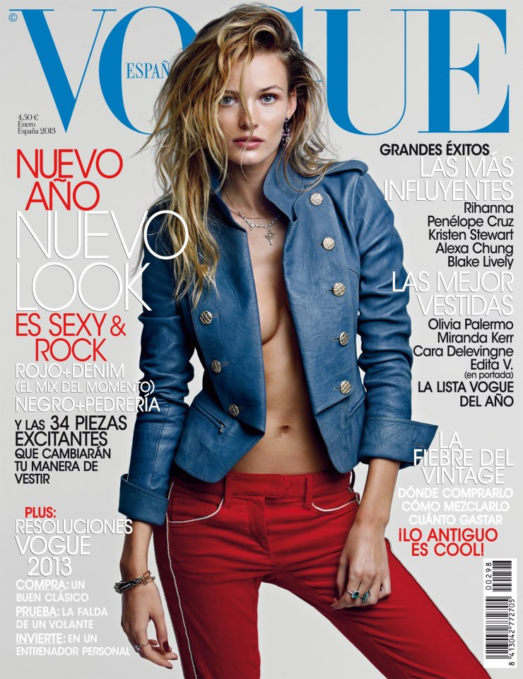 editacover Edita Vilkeviciute Rocks Chanel for Vogue Spains January 2013 Cover
