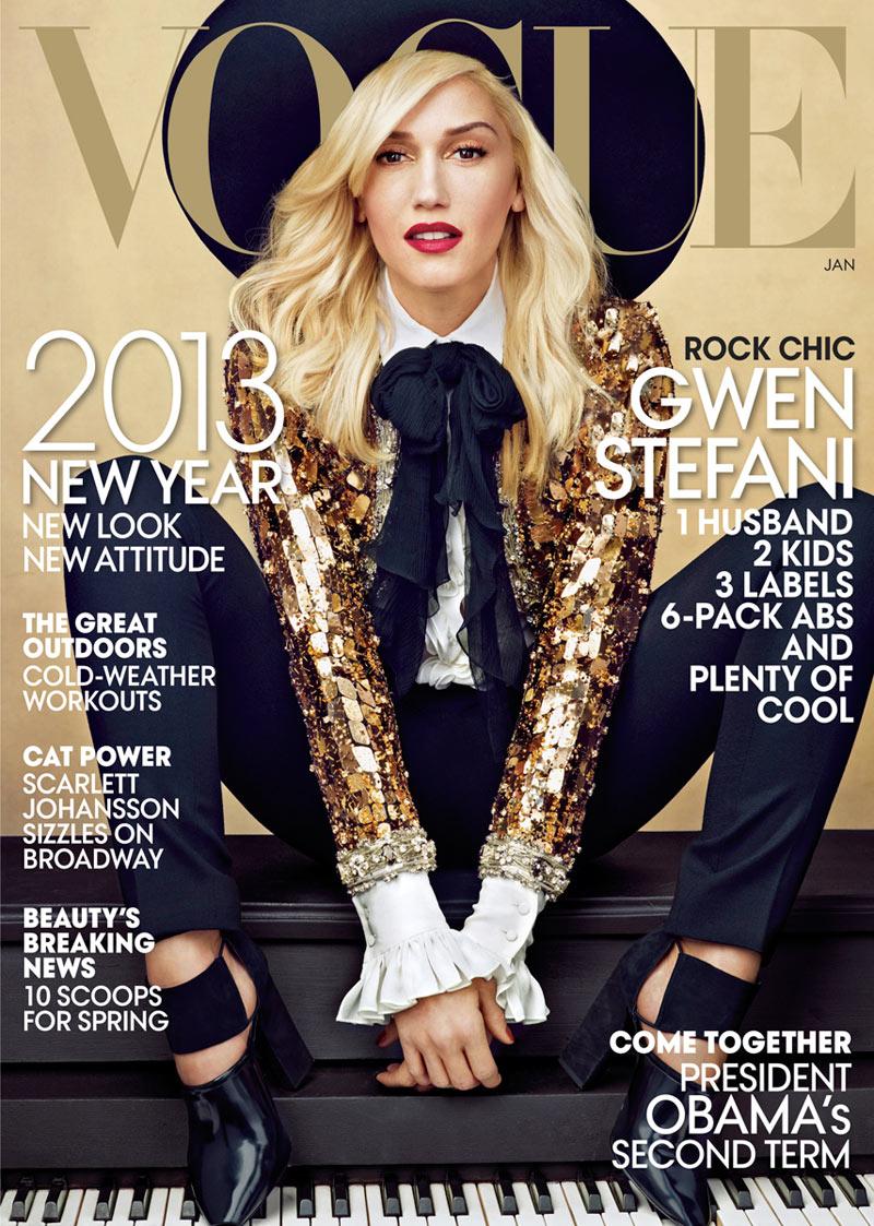 Gwen Stefani Covers Vogue US January 2013 in Saint Laurent