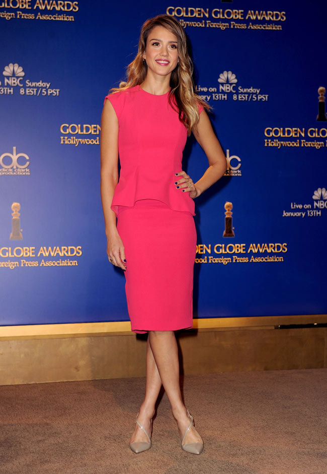 Jessica Alba in Dior at the Golden Globe Awards Nominations