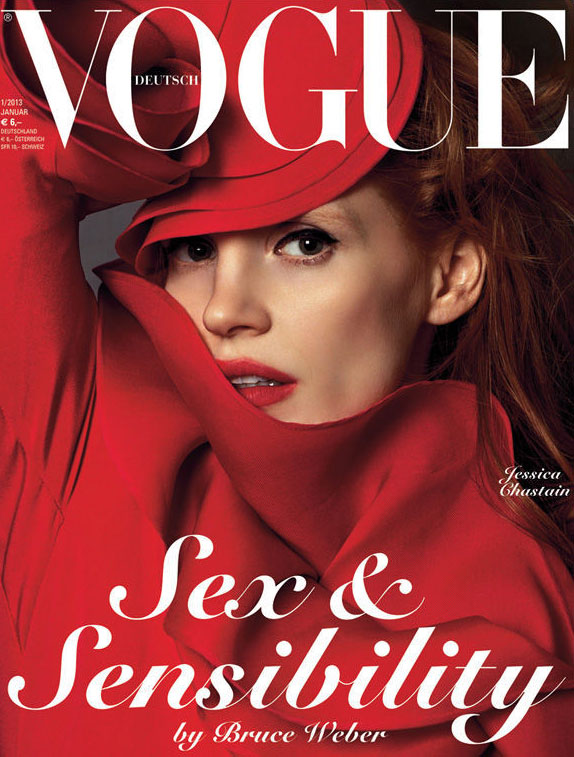 jessicacover Jessica Chastain is Swathed in Gucci for Vogue Germanys January 2013 Cover