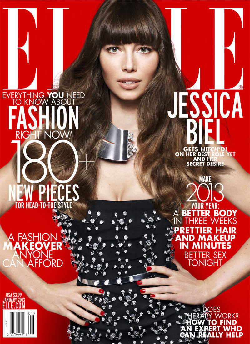 jessicacover1 Jessica Biel Joins Leading Designers for Elle US January 2013 Cover Shoot