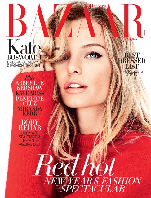 kate bosworth cover Kate Bosworth Poses for the January 2013 Cover of Harpers Bazaar Australia