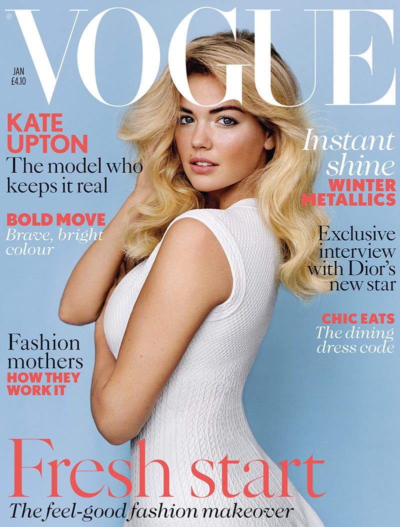 katecover Kate Upton Graces the January 2013 Cover of Vogue UK in Azzedine Alaïa