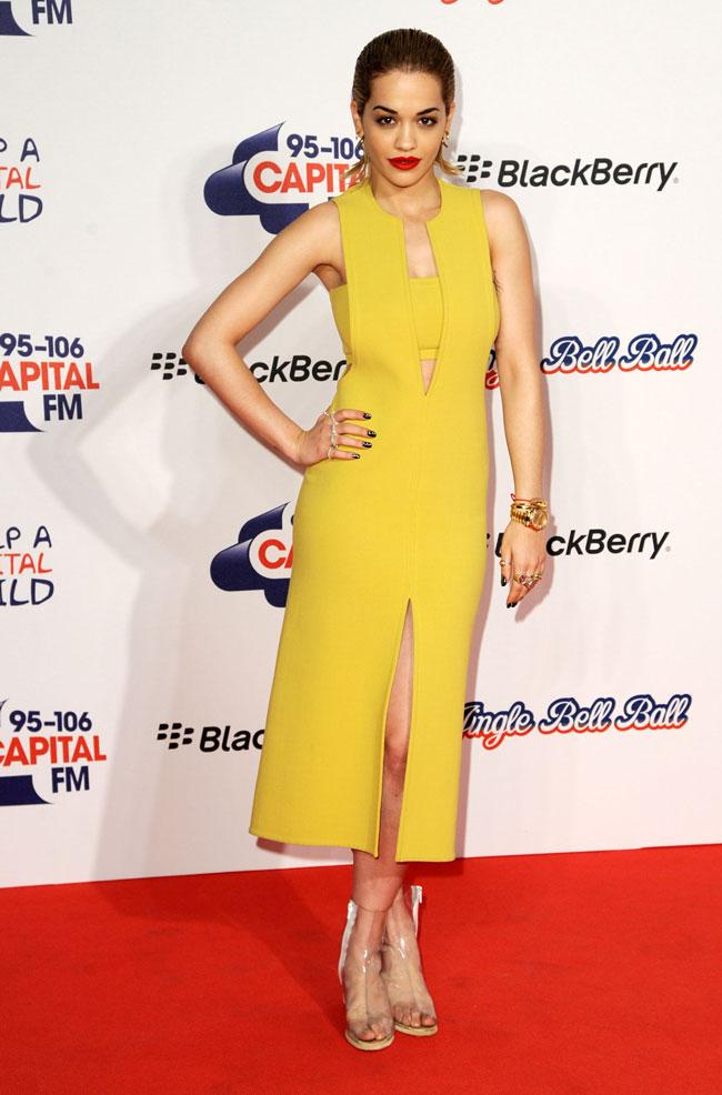 Rita Ora in Calvin Klein Collection at the 2012 Jingle Bell Ball