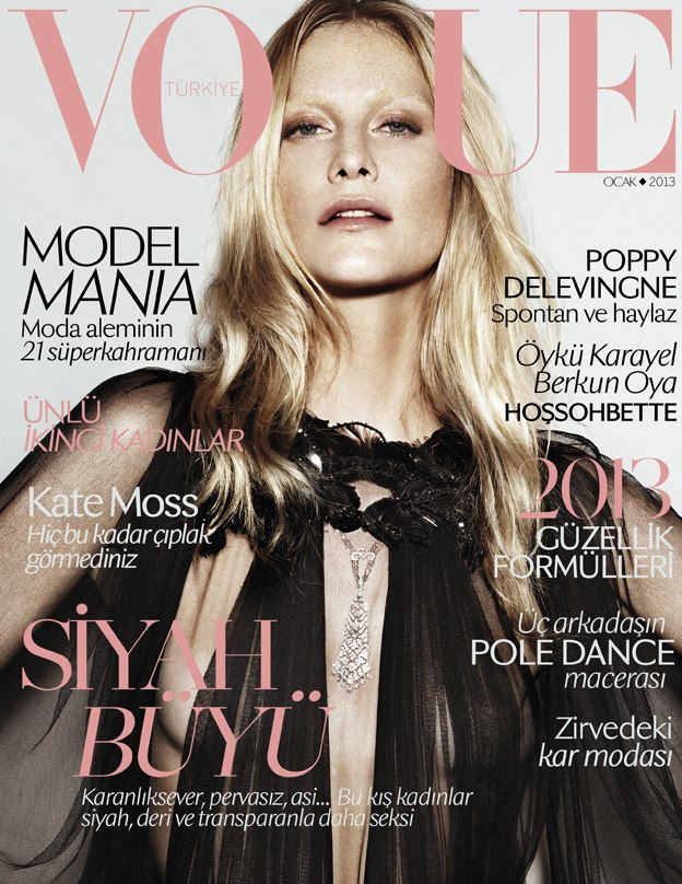Poppy Delevingne Graces Vogue Turkey's January 2013 Cover in Gucci