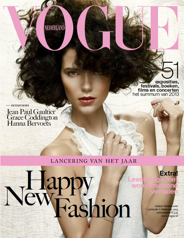 voguecover1 Agnes Nabuurs Graces the January/February 2013 Cover of Vogue Netherlands