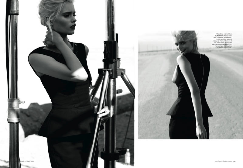 AbbeyLeeBazaar5 Abbey Lee Kershaw Takes to the Desert for Harpers Bazaar Australia January 2013 by Simon Upton