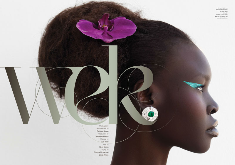 AlekMag1 Alek Wek is Romantic in Flora for As If Magazine