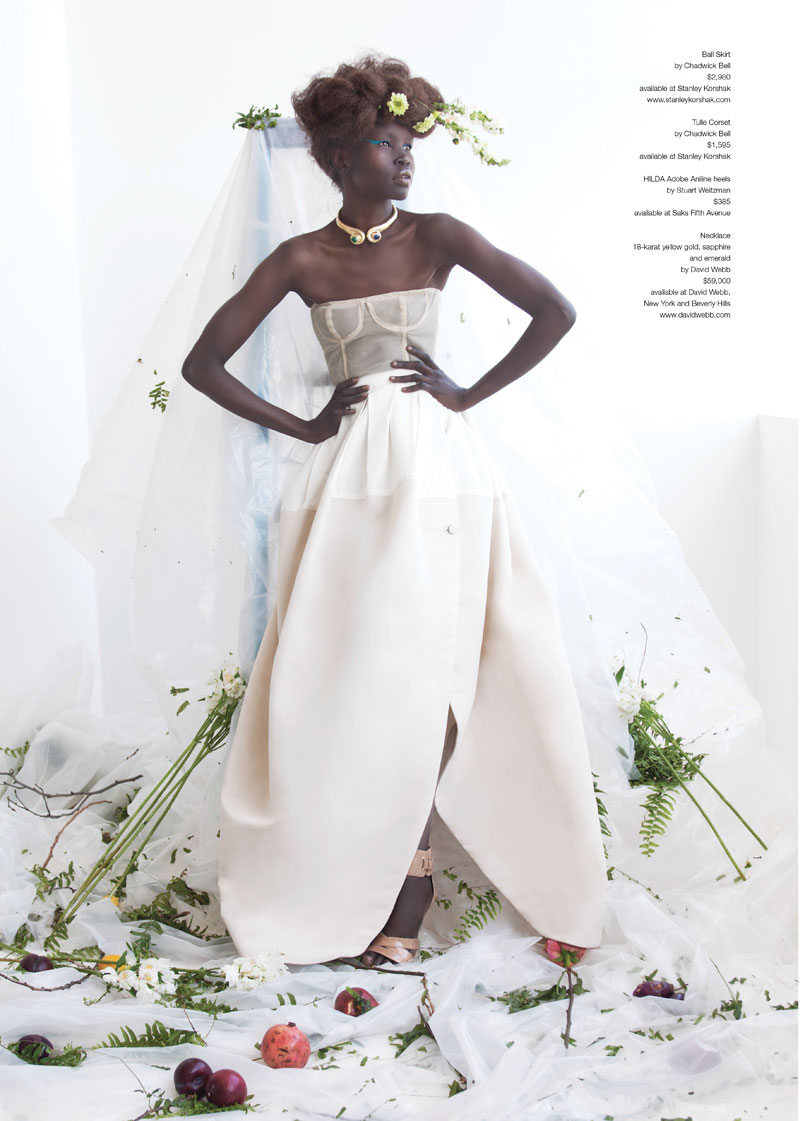 AlekMag2 Alek Wek is Romantic in Flora for As If Magazine