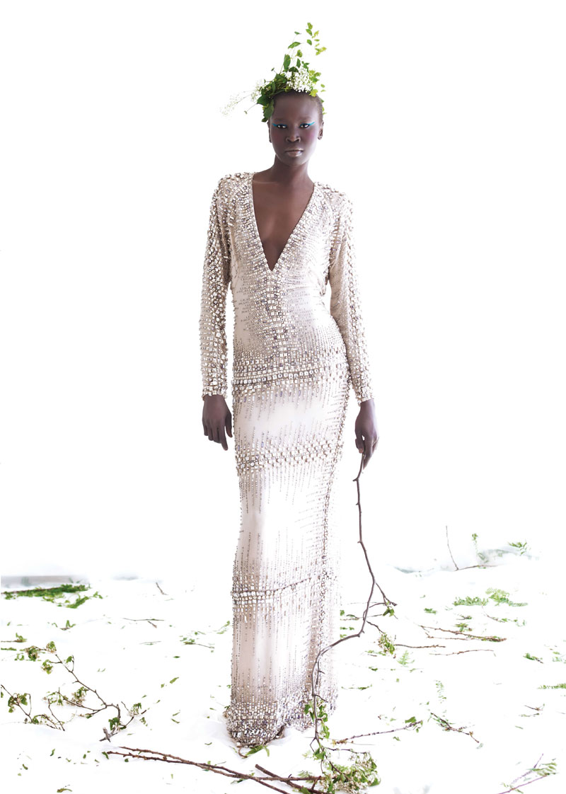 AlekMag3 Alek Wek is Romantic in Flora for As If Magazine