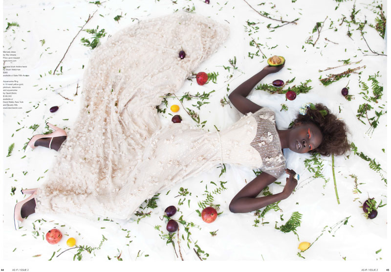 AlekMag4 Alek Wek is Romantic in Flora for As If Magazine