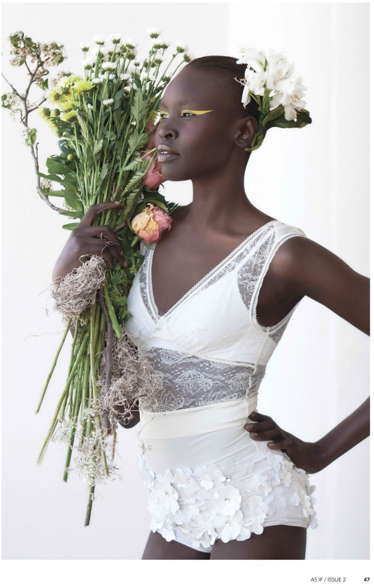 AlekMag5 768x1200 Alek Wek is Romantic in Flora for As If Magazine