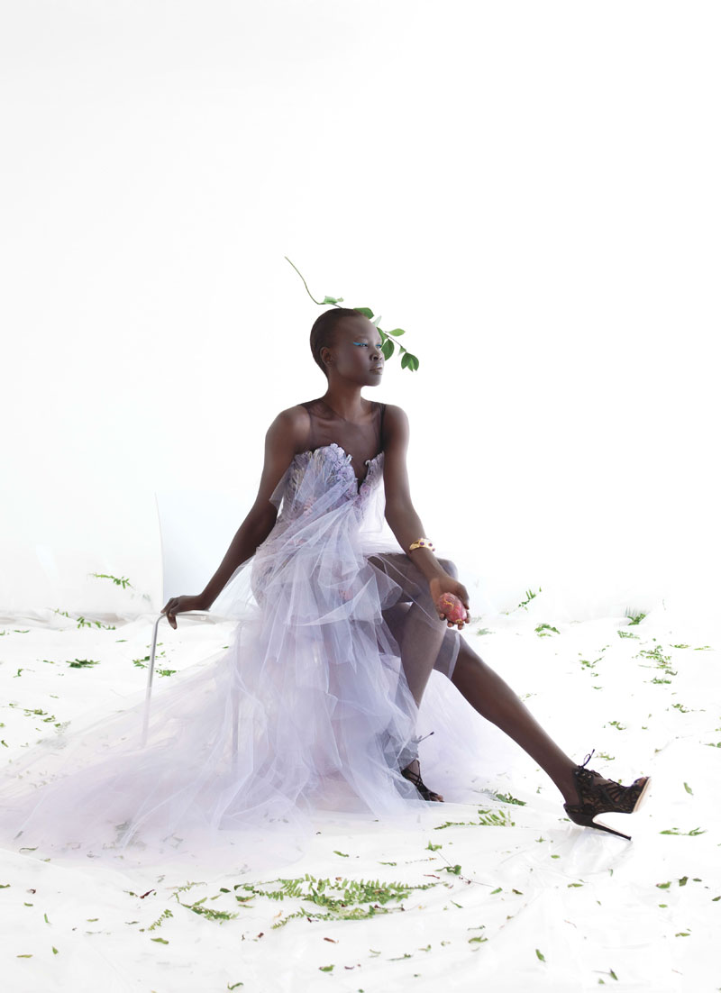 AlekMag6 Alek Wek is Romantic in Flora for As If Magazine