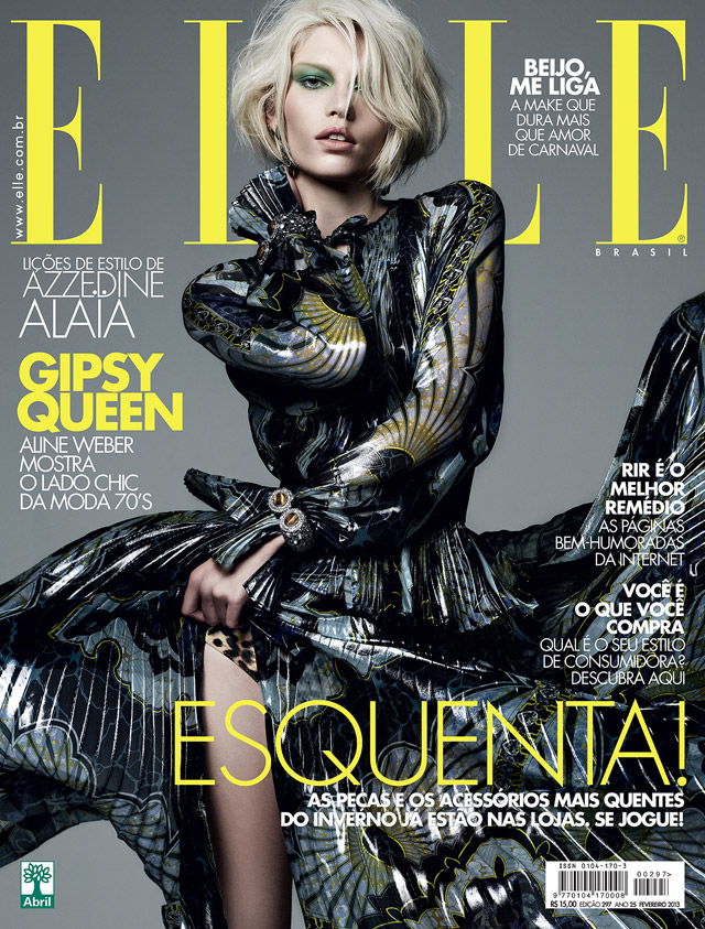 AlineCover Aline Weber is Boho Glam in Emilio Pucci for Elle Brazils February 2013 Cover