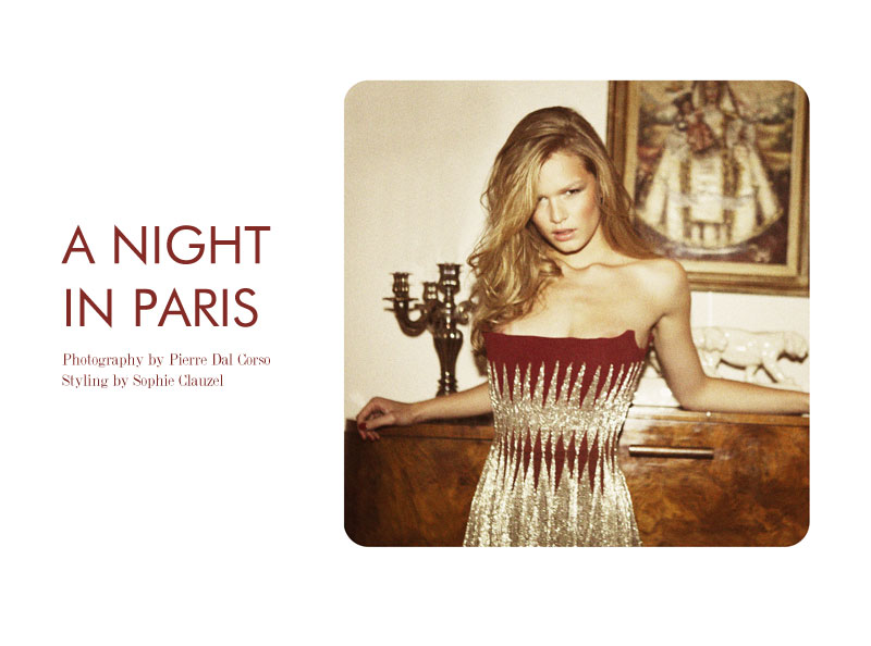 """Anna Ewers by Pierre Dal Corso in """"A Night in Paris"""" for Fashion Gone Rogue"""