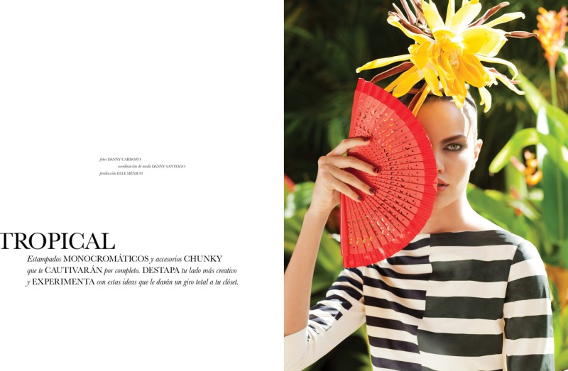 BarbaraElle1 Barbara Fialho Gets Tropical for Elle Mexico January 2013, Shot by Danny Cardozo