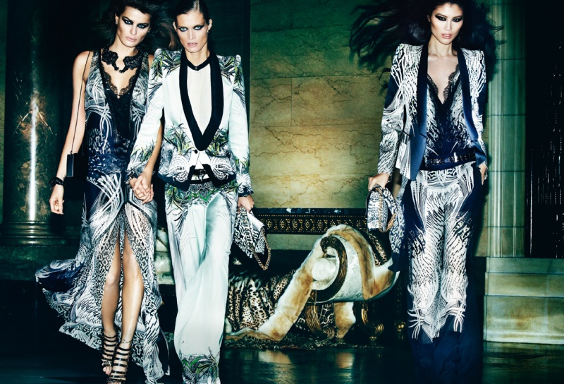 CavalliSpring2 Roberto Cavalli Enlists Isabeli Fontana, Malgosia Bela and Sui He for its Spring 2013 Campaign by Mario Testino