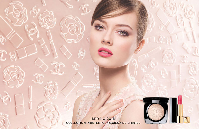 ChanelJac Jac Jagaciak is Demure in Pink for Chanels Spring 2013 Cosmetics Campaign